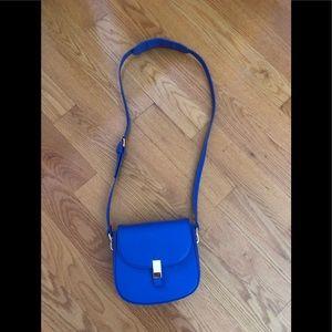 Cobalt blue cross body flap bag